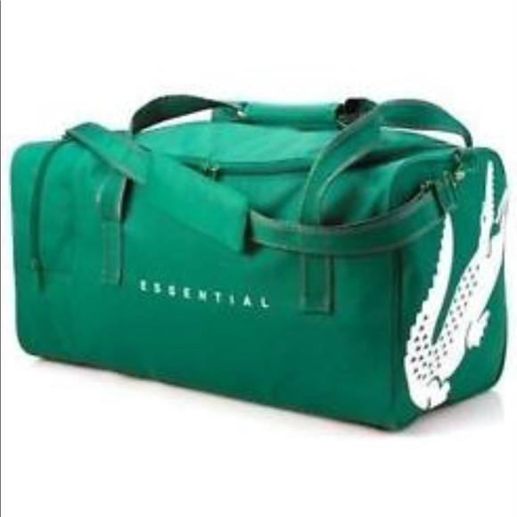 b2d7b1283de393 Lacoste Parfums Essential Green White Duffle Bag